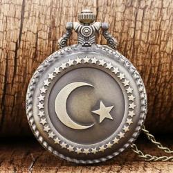 Ay Yıldız Türk Bayrağı Tasarım Serkisof Köstekli Cep Saati Retro KS003