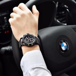 Benyar Erkek Kol Saati Spor Şık ve Sade Tasarım Siyah Hasır  Saat BN005
