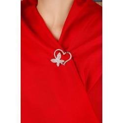 Rose Parlak Taşlı Kalp Tasarımlı Bayan Broş BRS81