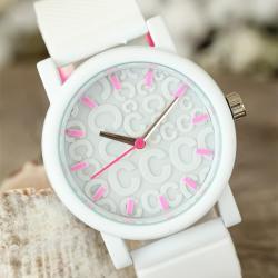 Beyaz Renk Silikon Kordonlu Kabartlamalı İç Tasarımlı Bayan Kol Saati BS1552