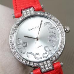 2 Yıl Garantili Ferrucci Kırmızı Renk Deri Kordonlu Silver Zirkon Taşlı Kasa Bayan Kol Saati LBS325