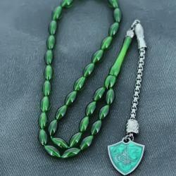 Osmanlı Tuğra İmameli Yeni Siyah Koyu Yeşil Renk Arpa Kesim Sıkma Toz Kehribar Tesbih TSH830