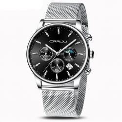 Crrju Erkek Kol Saati Gümüş Hasır Kordon Fonksiyonlu Aktif Saat CR0025