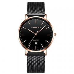 Crrju Erkek Kol Saati Siyah Hasır Klasik Tasarım Sade Şık Saat CR020