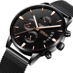 Crrju Erkek Kol Saati Siyah Hasır Spor Tasarım Fonksiyonlu Saat CR024