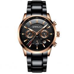 Crrju Gold Siyah Çelik Erkek Kol Saati Multifonksiyon Güçlü Saat CR0038