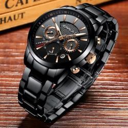 Crrju Siyah Çelik Erkek Kol Saati Multifonksiyon Aktif Güçlü Saat CR0037