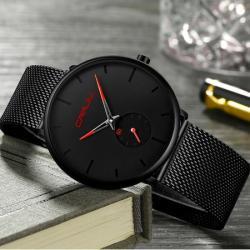 Crrju Siyah Hasır Erkek Kol Saati Sade ve Şık Trend Saat CR002