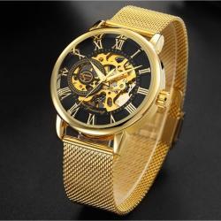 Forsining Gold Hasır Kordon İskelet Şeffaf Tasarım Mekanik Saat WN007