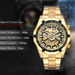 Forsining Gold Moon Otomatik Erkek Kol Saati Şeffaf İskelet Saat FS8820