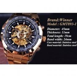 Forsining Gold Otomatik Erkek Kol Saati Siyah Çelik Kordon Saat FS031