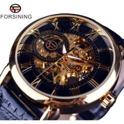 Forsining Gold Tasarım Çelik otomatik Erkek Kol Saati + Bileklik FS35