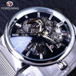 Forsining Gümüş Erkek Kol Saati İskelet Tasarım Mekanik Saat FG004