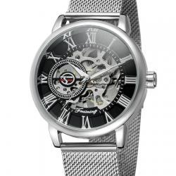 Forsining Gümüş Hasır Kordon İskelet Erkek Kol Saati Mekanik Saat FS18