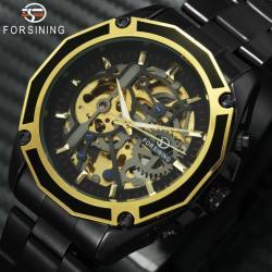 Forsining Otomatik Erkek Kol Saati Siyah Çelik İskelet Saat FS0029