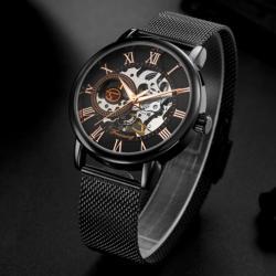 Forsining Siyah Tasarım Hasır Kordon Mekanik Sistem Orjinal Saat FS21