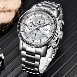 Lige Gümüş Çelik Erkek Kol Saati Spor Tasarım İri Kasa Saat LG9902