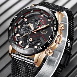 Lige Erkek Kol Saati Siyah Hasır Kordon Fonksiyonlu Saat LG9929