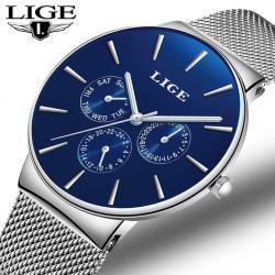 Lige Gümüş Hasır Kordon Erkek Kol Saati Lüks Klasik Tasarım Saat LG23452