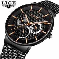 Lige Multifonksiyon Lüks Tasarım Erkek Kol Saati Siyah Hasır Saat LG82828A