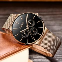 Lige Rose Gold Hasır Kordon Erkek Kol Saati Klasik Tasarım Saat LG94582