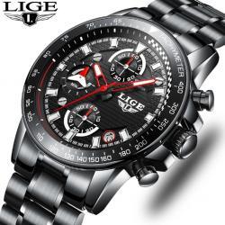 Lige Siyah Erkek Kol Saati Multifonksiyon Kronograf Çelik Saat LG8694