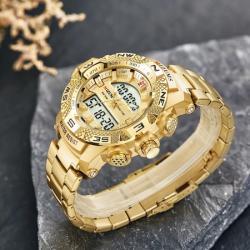 Mizums Gold Tasarım Erkek Kol Saati Analog Dijital Garantili Saat MZM02254L