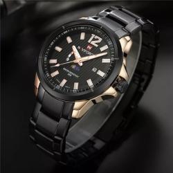 NaviForce Çelik Erkek Kol Saati Siyah Mehtaplı Tasarım Saat NF02354