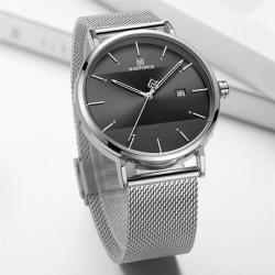 Naviforce Erkek Kol Saati Gümüş Hasır Kordon Tasarım Saat NF3008KRT