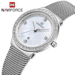 Naviforce Kadın Kol Saati Gümüş Hasır Kordon Bayan Saat NF5006