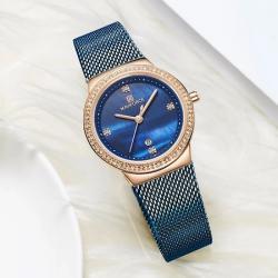 Naviforce Kadın Kol Saati Lacivert Hasır Kordon Bayan Saat Nf5005