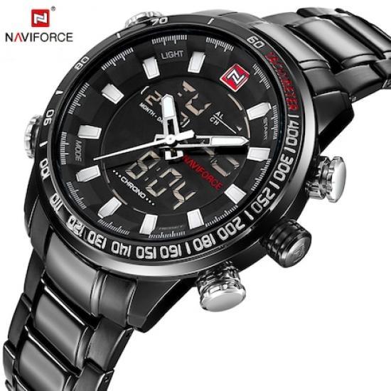NaviForce Lüks Tasarım Çelik Saat Dijital Erkek Kol Saati NF9093