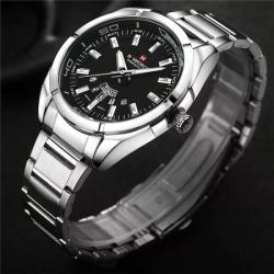 NaviForce Erkek Kol Saati Gümüş Çelik Spor Tasarım Saat NF9038