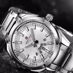 NaviForce Erkek Kol Saati Gümüş Sade Spor Tasarım Saat NF9038