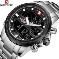 Naviforce Sağlam Spor Tasarım Erkek Kol Saati Dual Time Led Saat NF5845