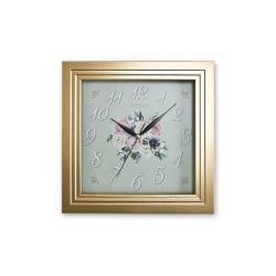 REGAL 151 G2 Altın Yaldız Kare Ahşap Duvar Saatı
