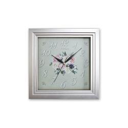 REGAL 151 S2 Gümüş Renk Kare Ahşap Duvar Saatı