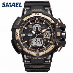 Smael 1376 Erkek Kol Saati Su Geçirmez Spor Gold Tasarım Saat SM1376