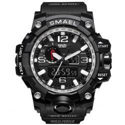 Smael Erkek Kol Saati Siyah Spor Tasarım Su Geçirmez Saat SM1545D