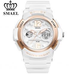 Smael Beyaz Bayan Kol Saati Dijital Su Geçirmez Spor Kadın Saat SM033