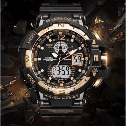 Smael Gold Siyah Tasarım Kol Saati Spor Dijital Asker Saati SM2034