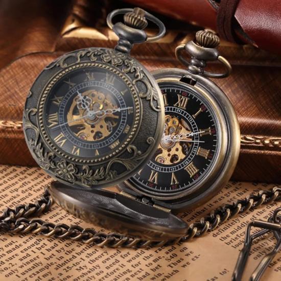 Steampunk Tasarım Retro Köstekli Cep Saati Kurmalı Mekanik Saat KS004