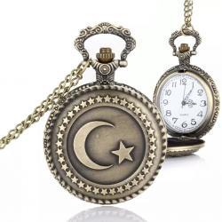 Türk Bayrağı Tasarımlı Zincirli Köstekli Cep Saati Retro Tasarım KS8547