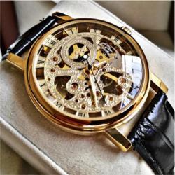Winner Gold Erkek Kol Saati İskelet Şeffaf Tasarım Mekanik Saat WN83615