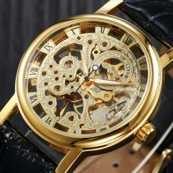 Winner Gold Tasarım Kurmalı Mekanik Erkek Kol Saati Şık ve Sade WN008