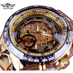 Winner Gold Tasarım Otomatik Erkek Kol Saati İskelet Lüks Saat W85447A