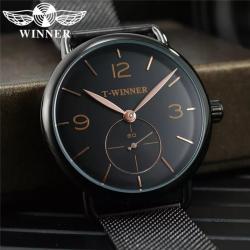 Winner Hasır Kordon Tasarım Erkek Kol Saati Siyah Tasarım Saat TW001