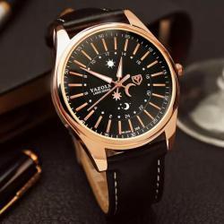 Yazole Rose Gold Kasa Erkek Kol Saati Lüks Tasarım Klasik Saat YZL0020